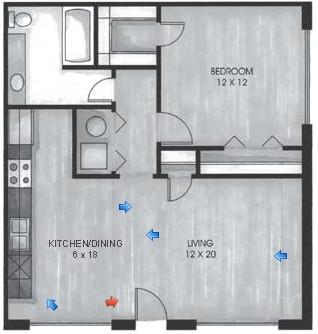 677 sq. ft. A floor plan