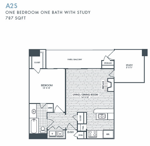 787 sq. ft. A2S floor plan