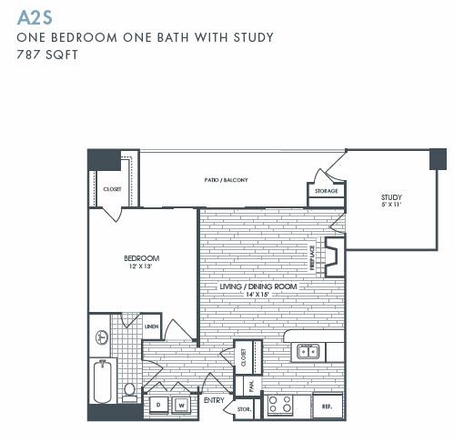 787 sq. ft. A2S floor plan