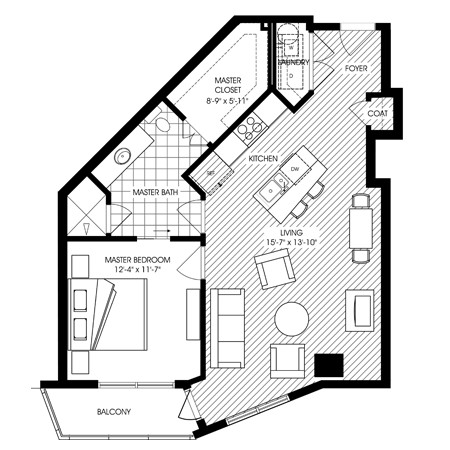842 sq. ft. A10 floor plan