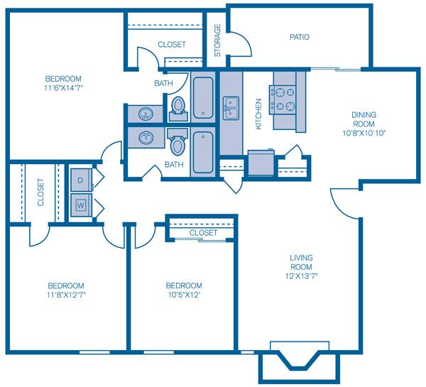 1,161 sq. ft. Berkley floor plan