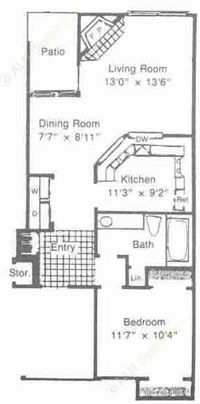 685 sq. ft. to 703 sq. ft. floor plan