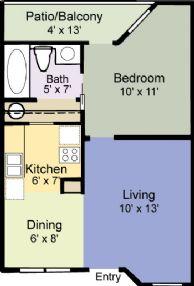 450 sq. ft. Aspen floor plan