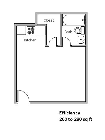 260 sq. ft. to 280 sq. ft. floor plan