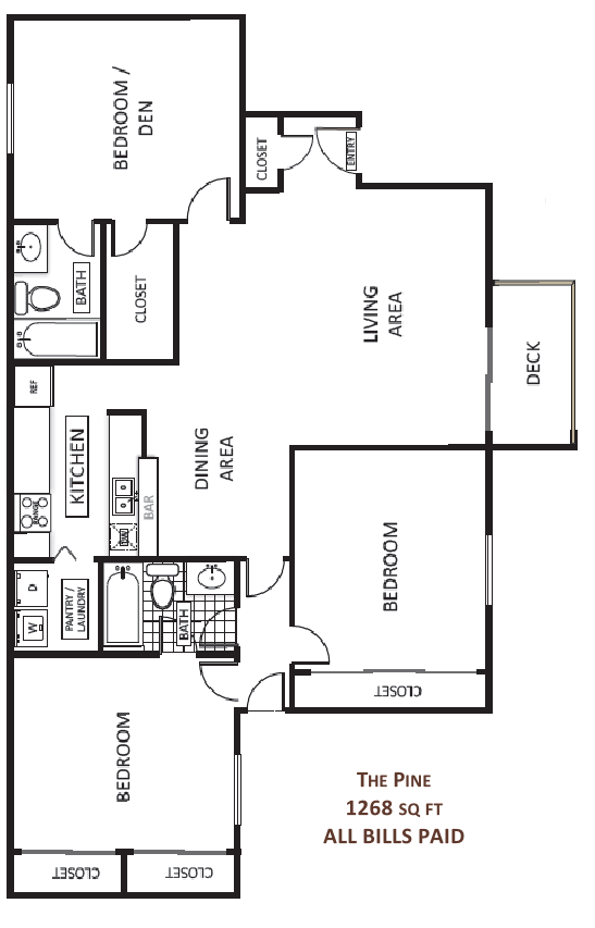 1,268 sq. ft. Pine floor plan