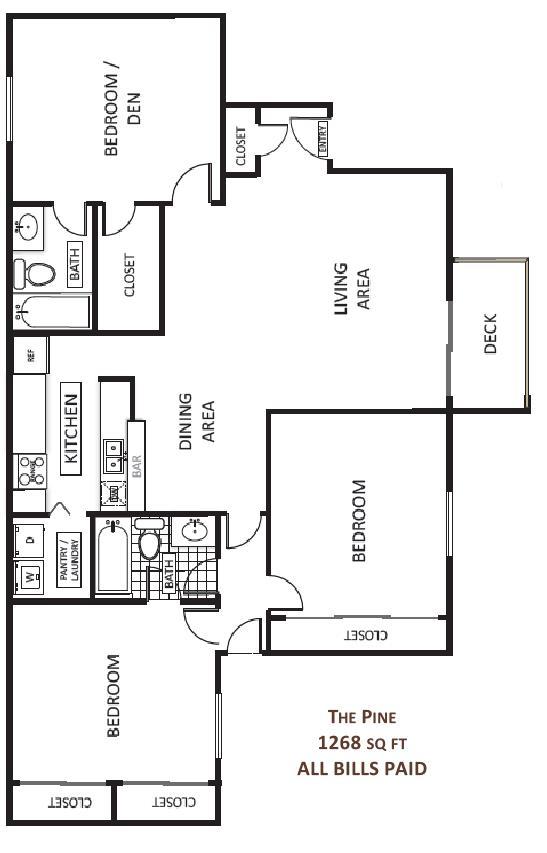 1,268 sq. ft. Pine floor plan
