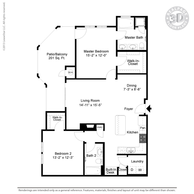 1,212 sq. ft. B8 floor plan