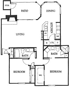 1,172 sq. ft. 2B floor plan