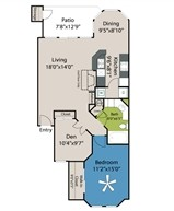 906 sq. ft. A4 floor plan