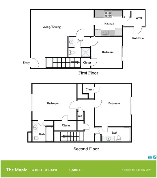 1,500 sq. ft. Maple floor plan