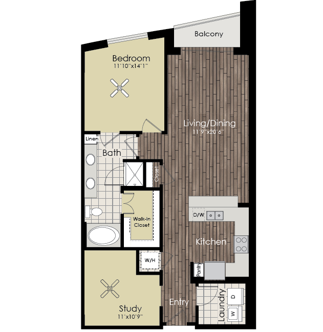 1,041 sq. ft. A15 floor plan
