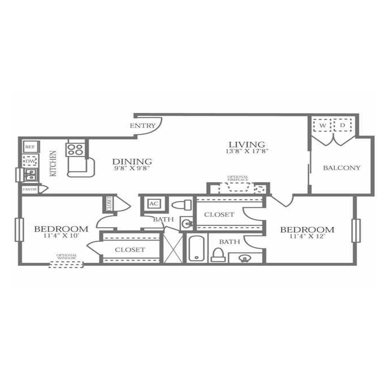 976 sq. ft. B2/B3 floor plan