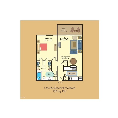732 sq. ft. A4 floor plan