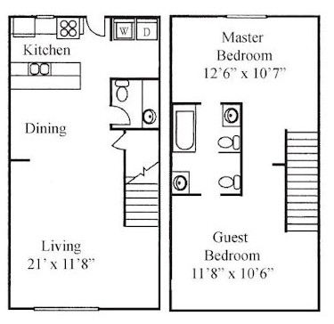 1,012 sq. ft. A floor plan