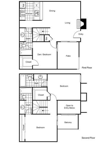 1,400 sq. ft. B2 floor plan