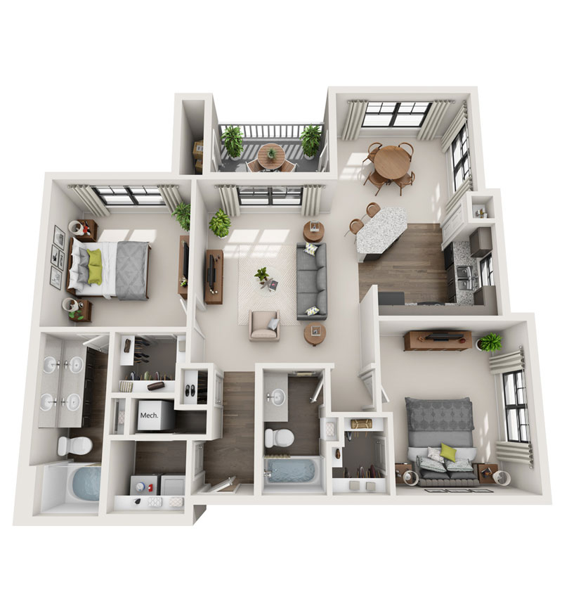 1,252 sq. ft. B5 floor plan