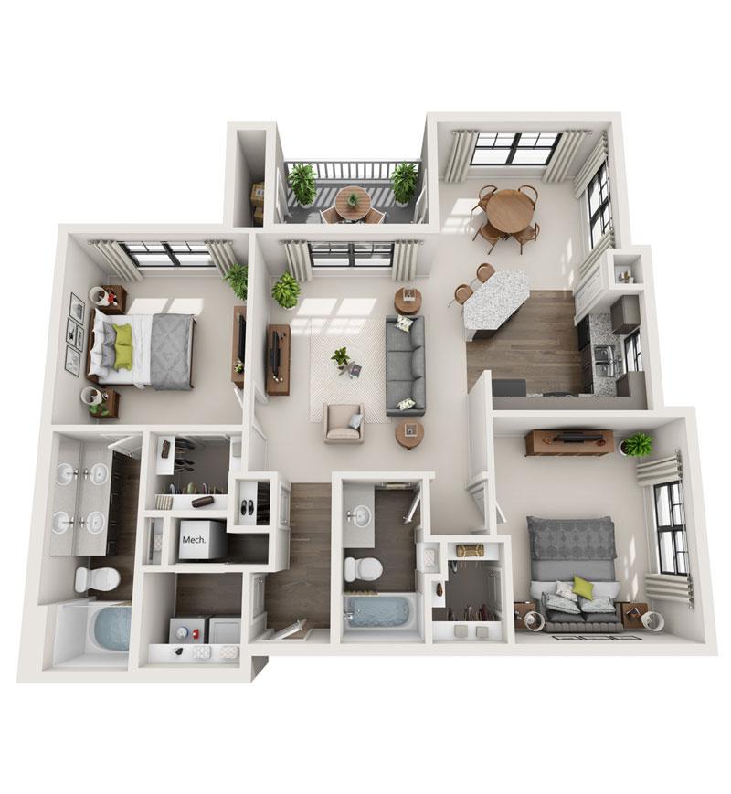 1,252 sq. ft. B5 floor plan