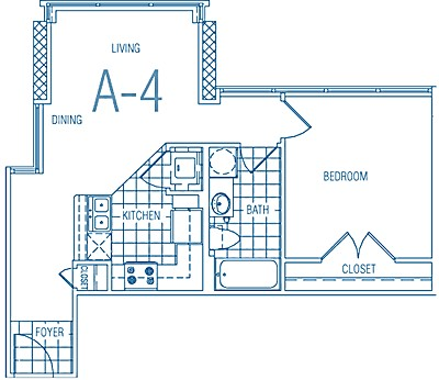 571 sq. ft. A4 50% floor plan