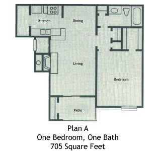 705 sq. ft. A1 floor plan