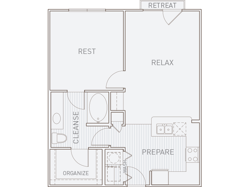 736 sq. ft. A2-J floor plan