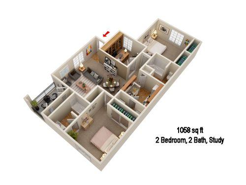 1,058 sq. ft. B2S floor plan