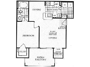 695 sq. ft. A floor plan