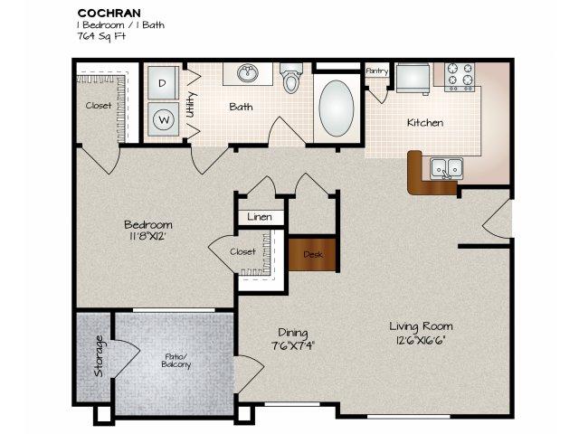 764 sq. ft. COCHRAN floor plan