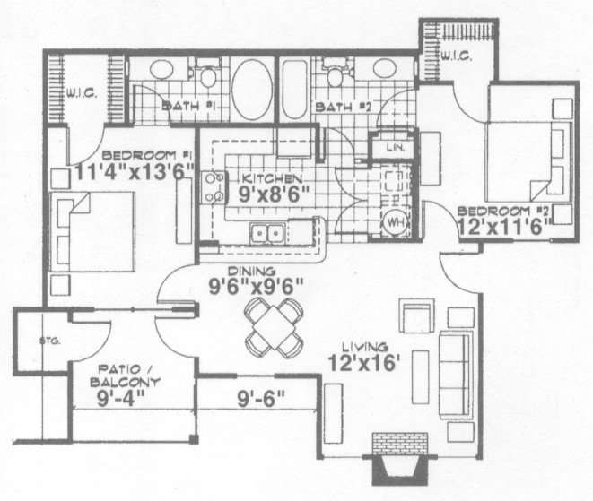 961 sq. ft. Oxford floor plan