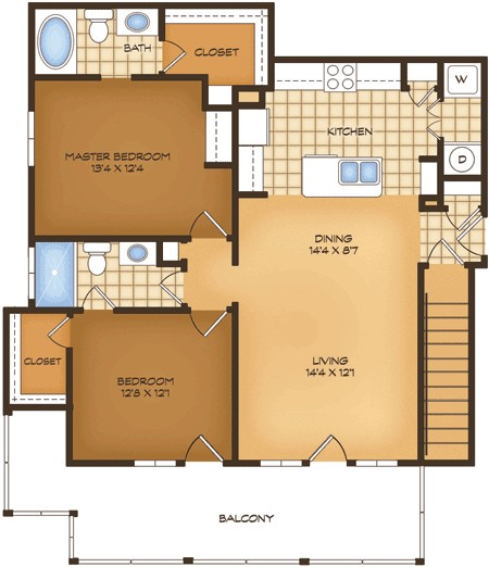 1,104 sq. ft. B3G Prato Vistas floor plan