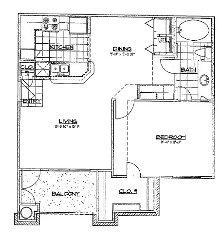 718 sq. ft. A2/60% floor plan