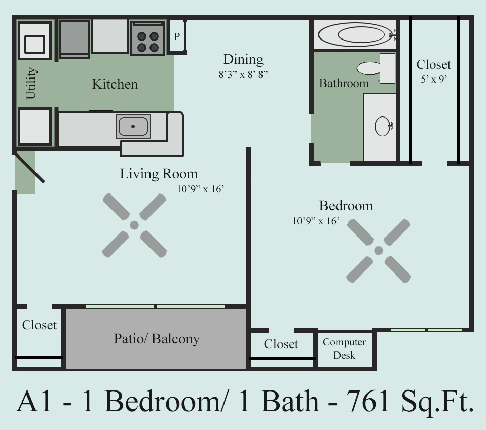 761 sq. ft. A1Y floor plan