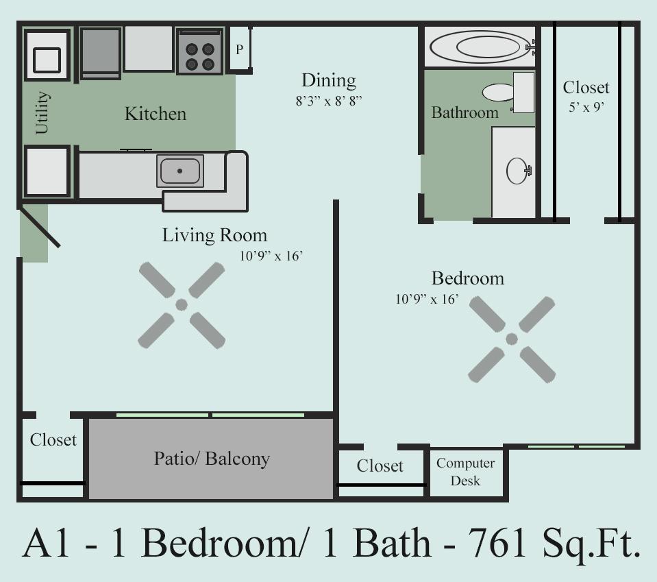 761 sq. ft. A1Y floor plan