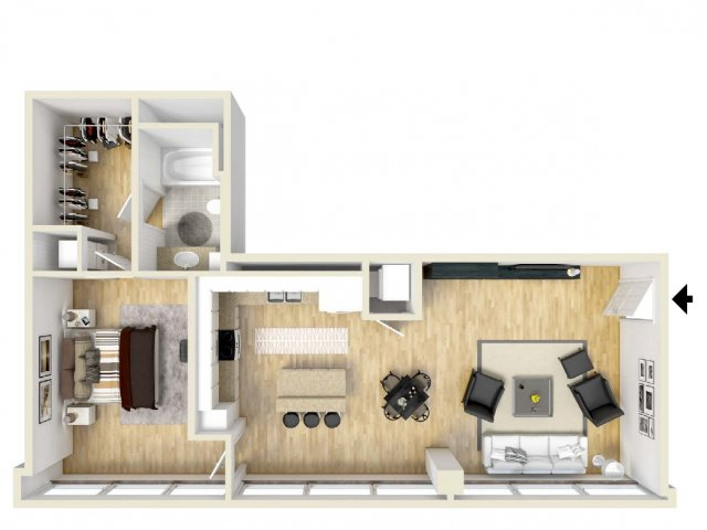 839 sq. ft. High Five floor plan