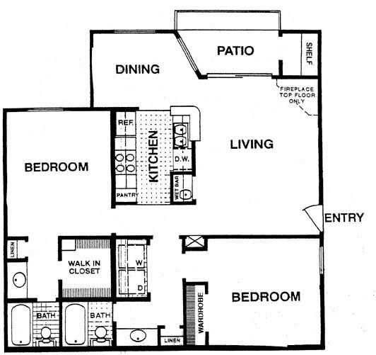 974 sq. ft. E2 floor plan