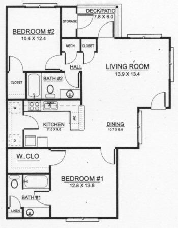 1,016 sq. ft. 50% floor plan