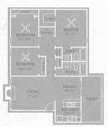 1,061 sq. ft. Hattisburg floor plan