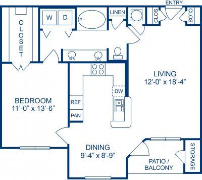 897 sq. ft. C1 floor plan