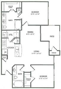 1,021 sq. ft. Tidewater floor plan