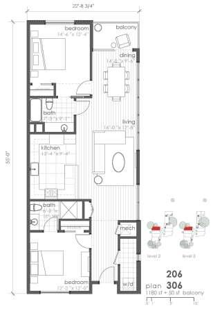 1,180 sq. ft. B5 floor plan