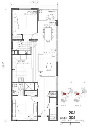 1,180 sq. ft. B5 floor plan