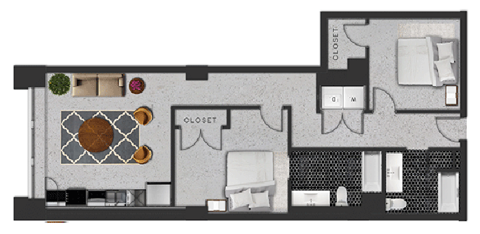 1,044 sq. ft. F floor plan