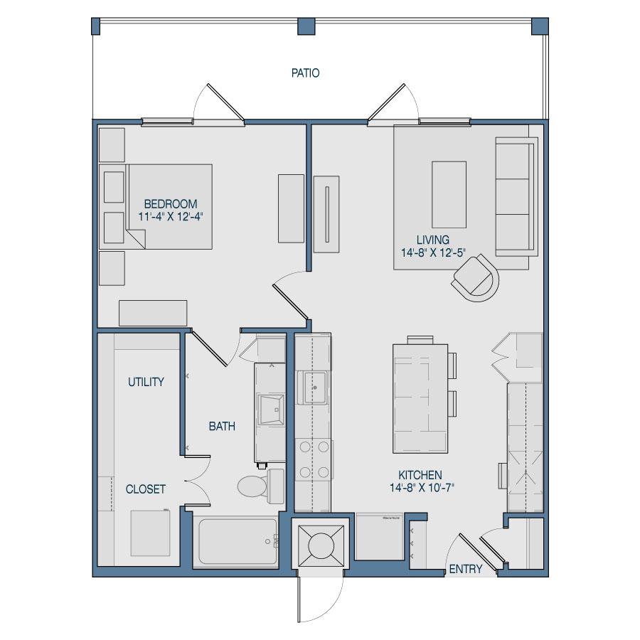 727 sq. ft. A3 floor plan