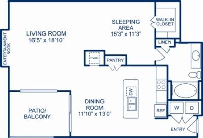 1,086 sq. ft. LOS ANGELES floor plan