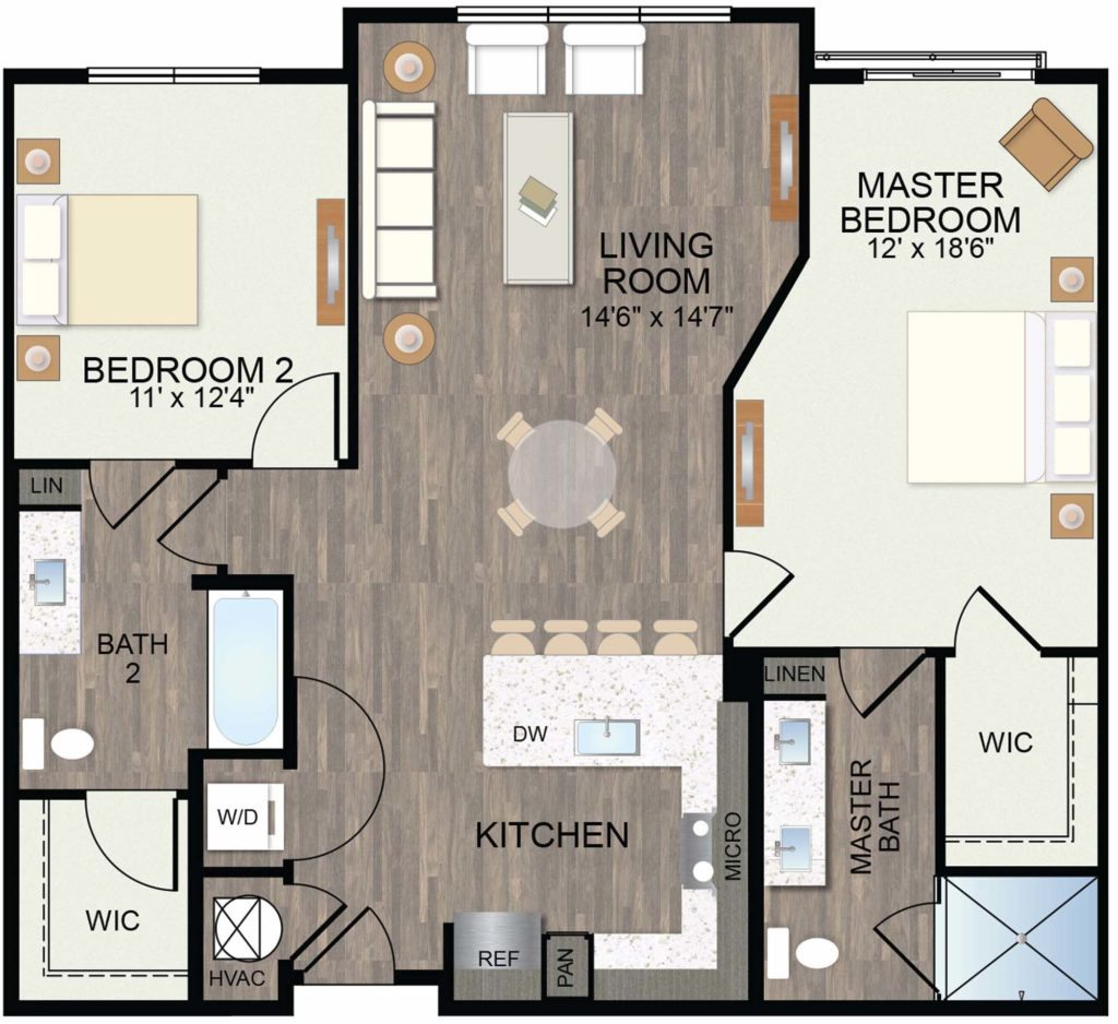 1,152 sq. ft. Whitebrush floor plan