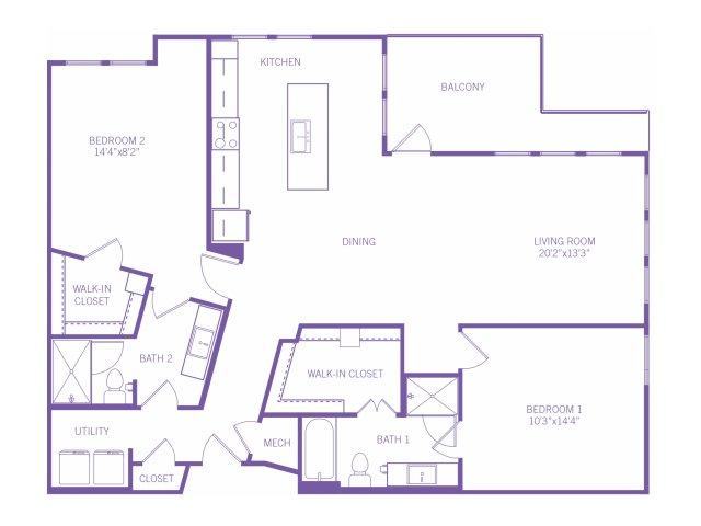 1,422 sq. ft. B9 floor plan