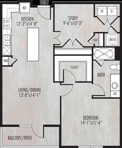 943 sq. ft. A5 floor plan