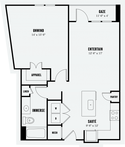 848 sq. ft. A3A floor plan