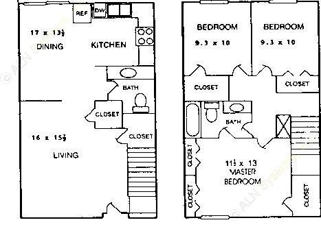 1,400 sq. ft. C1 floor plan