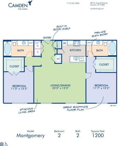 1,200 sq. ft. MONTGOMERY floor plan
