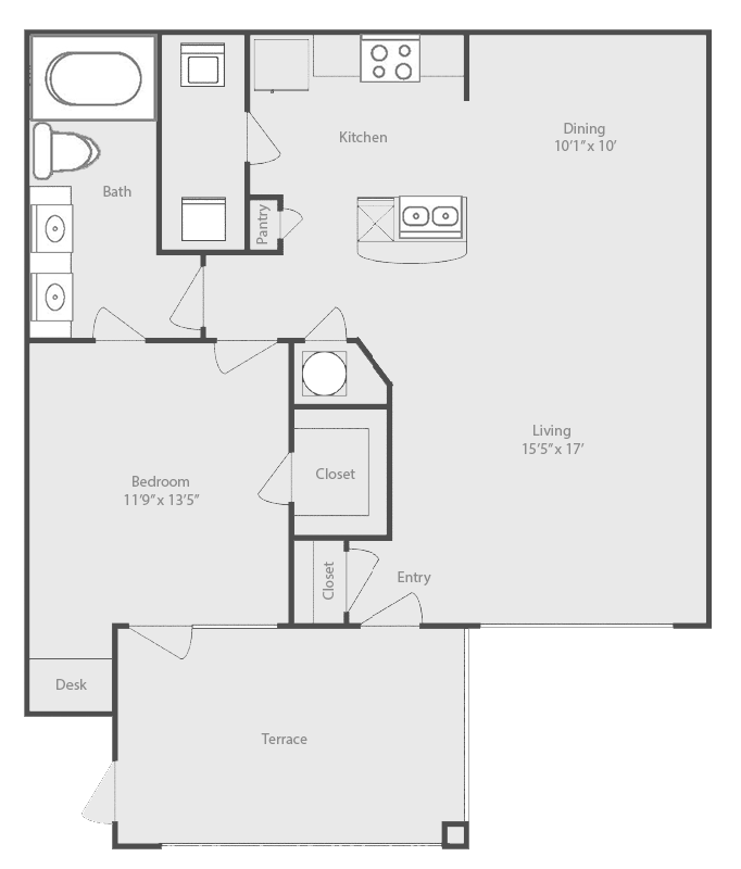877 sq. ft. Sabine floor plan